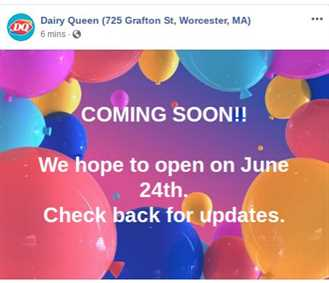 Worcester's Grafton St. Dairy Queen Hoping to Open June 24 1